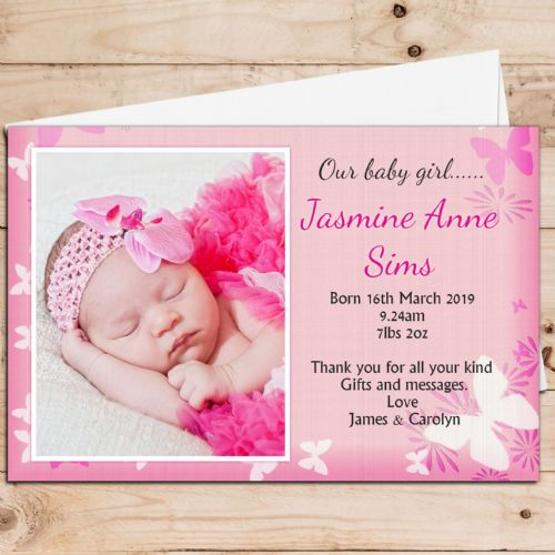 10 Personalised Baby Girl Birth Announcement Thank You PHOTO Cards N42
